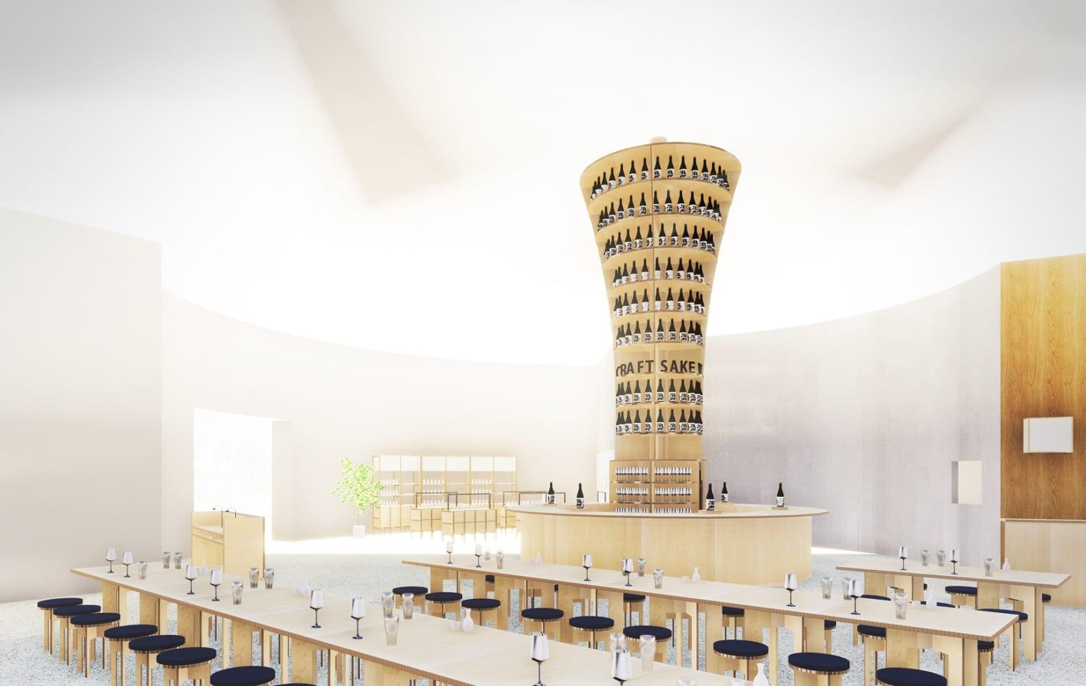 CRAFT SAKE WEEKの会場を再現した7Mの日本酒タワーを中心に広がる壮大な店内